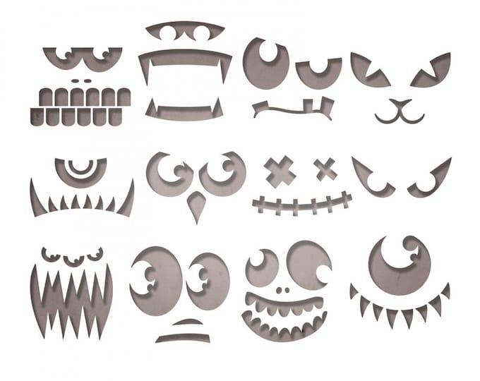 New! Sizzix Tim Holtz Thinlits Die Set 12PK - Frightening Faces 663090