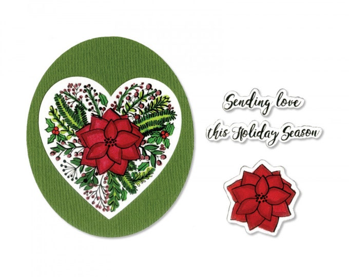 New! Sizzix Framelits Die Set 5PK w/Stamps - Poinsettia Wreath by Jen Long 663168