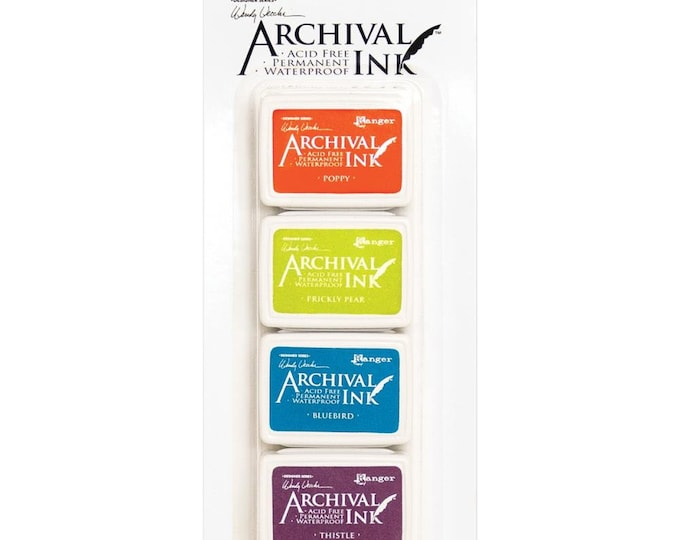 New! Wendy Vecchi Archival Mini Ink Pad Kit - Set # 6 (Poppy, Prickly Pear, Bluebird, and Thistle)