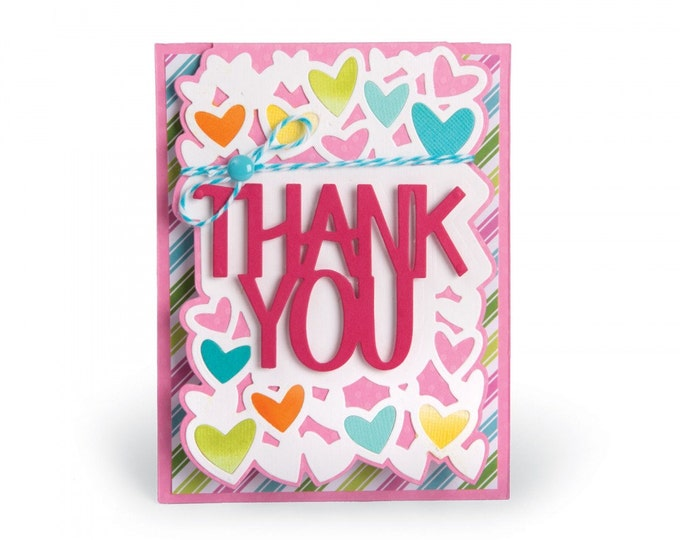 Sizzix Framelits Die Set 4PK - Card, Thank You Drop-ins by Stephanie Barnard