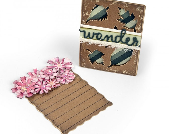 New! Sizzix Thinlits Die Set 4PK - Journaling Cards, Flowers & Leaves by Eileen Hull 662811