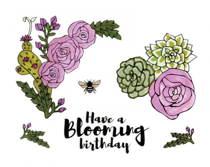 Sizzix Framelits Die Set 7PK w/Stamps - Blooming Florals by Jen Long