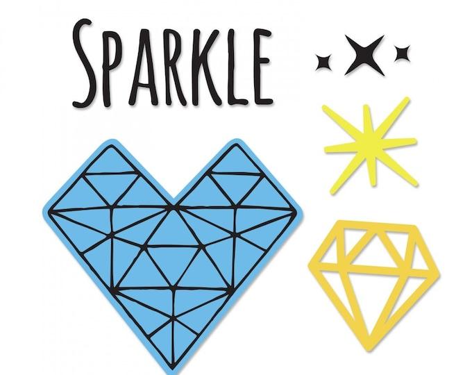 New! Sizzix Framelits Die Set 3PK w/Stamps - Sparkle Heart by Jen Long 662940