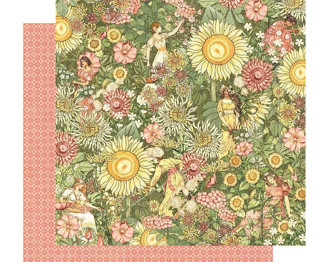 New! 2 Sheets of Graphic 45 GARDEN GODDESS Scrapbook Cardstock Paper - Thoughtfully Planted (4501745)