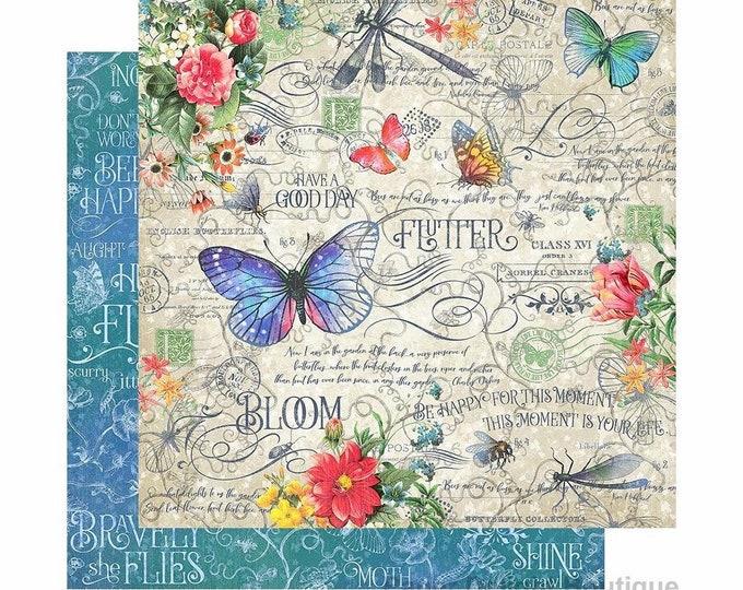 New! 2 Sheets of Graphic 45 FLUTTER Scrapbook Cardstock Paper - Flutter (4501767)
