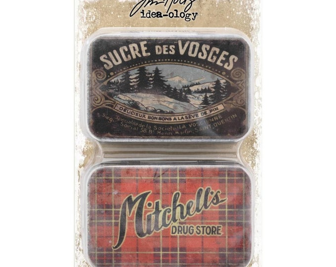 Tim Holtz Idea-Ology Metal Trinket Tins for Assemblage - Christmas TH93761 New for 2018