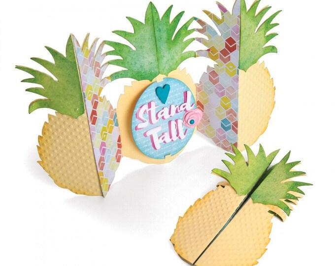 New! Sizzix Thinlits Die Set 10PK - Card, Pineapple Fold-a-Long by Jen Long 662727