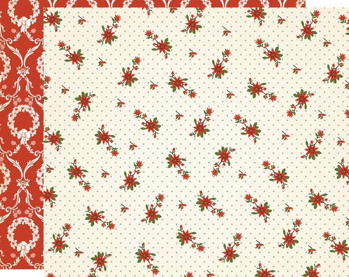 1 Sheet of Carta Bella Paper CHRISTMAS WONDERLAND 12x12 Scrapbook Paper - Poinsettia Paper (CBCW46011)