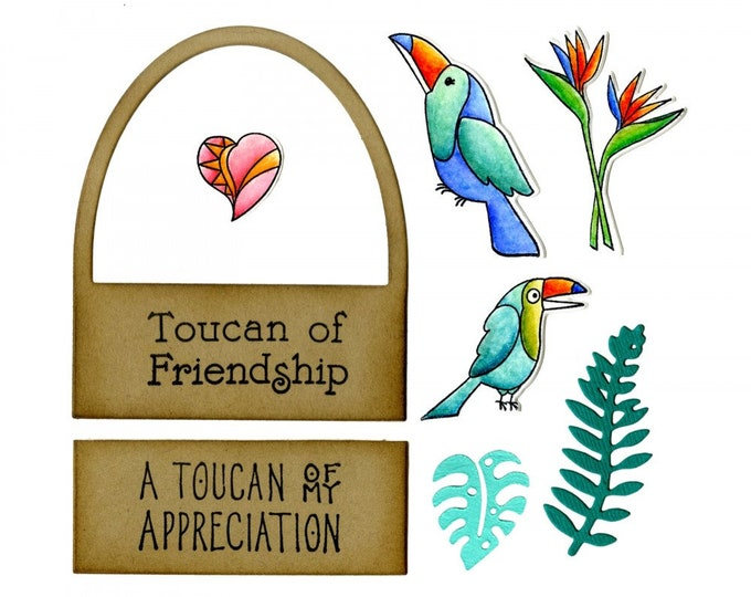 New! Sizzix Framelits Die Set 7PK w/Stamps - Toucan Sentiments by Lynda Kanase 662781