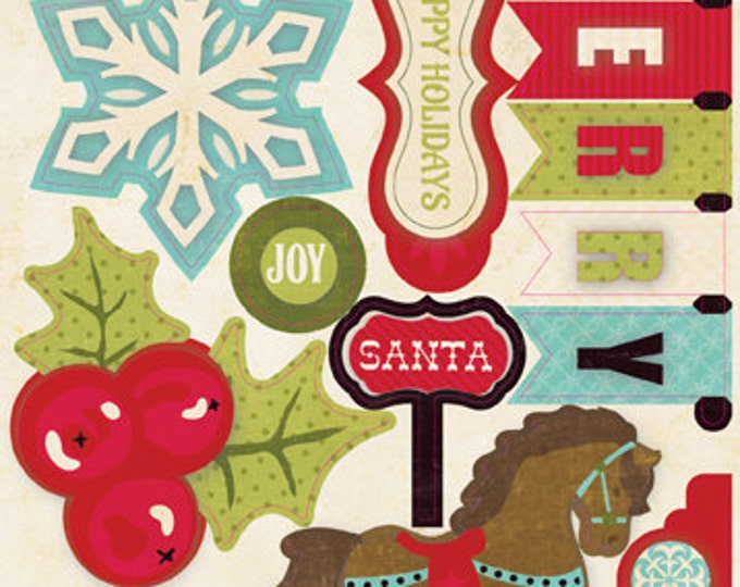 1 Sheet of Echo Park Paper SEASON'S GREETINGS Layered Christmas Chipboard