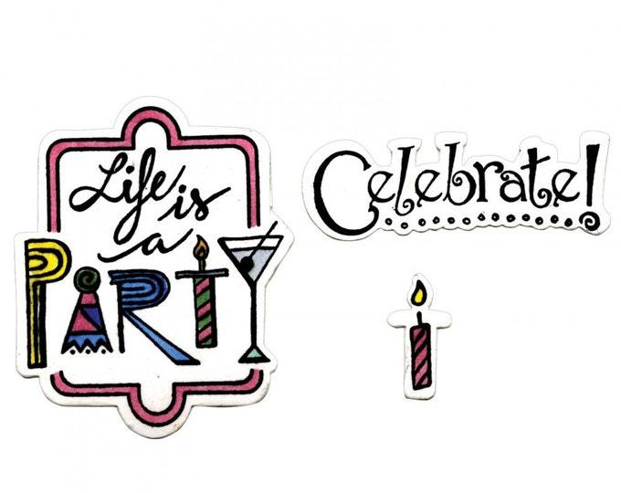 Sizzix Framelits Die Set 8PK w/Clear Stamps - Celebrate #2 Lindsey Serata 661856