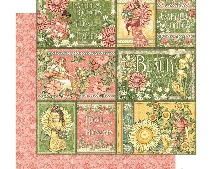 New! 2 Sheets of Graphic 45 GARDEN GODDESS Scrapbook Cardstock Paper - Shine From Within (4501747)