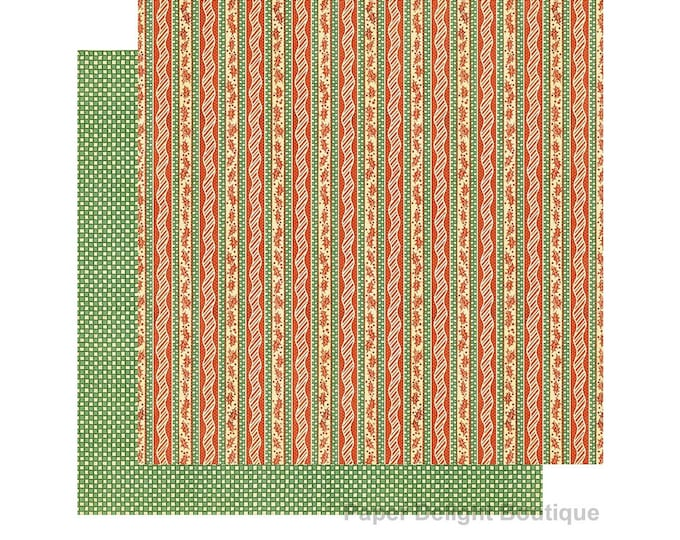 2 Sheets of CHRISTMAS MAGIC Scrapbook Cardstock by Graphic 45 Paper - Candy Cane Ribbons (4501731)
