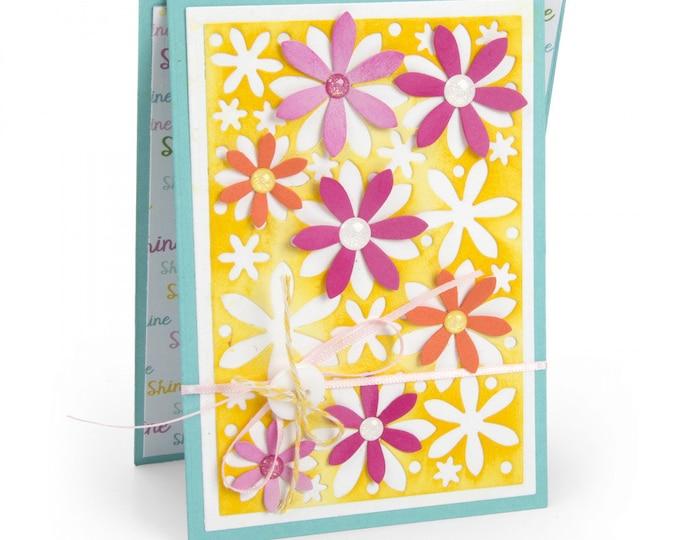 New! Sizzix Framelits Die Set 4PK - Card, Flowers Drop-ins by Stephanie Barnard 663125