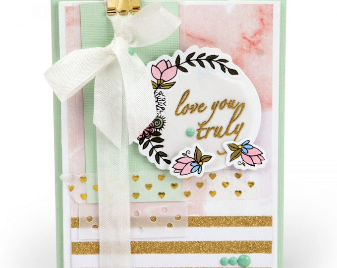 New! Sizzix Framelits Die Set 5PK w/Clear Stamps - Love You Truly 661859