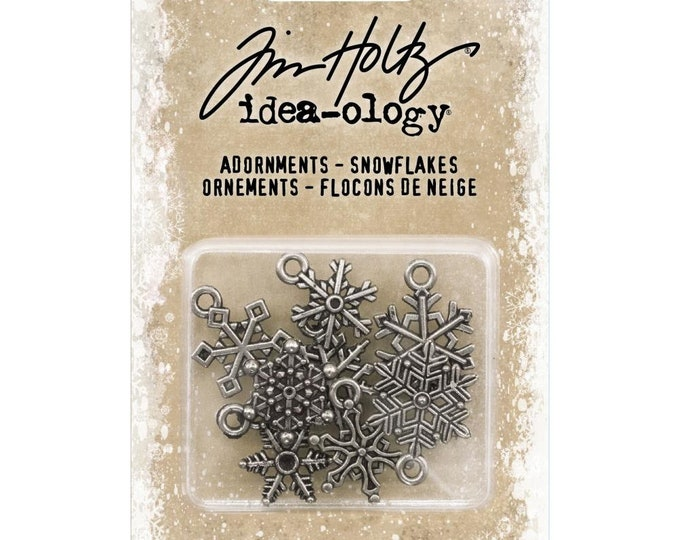 Tim Holtz Idea-Ology Metal Adornments Charms - Snowflakes TH93763 New for 2018