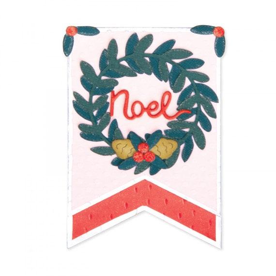 New! Sizzix Thinlits Die Set 5PK - Holiday Wreath Pennant by Katelyn Lizardi 663155