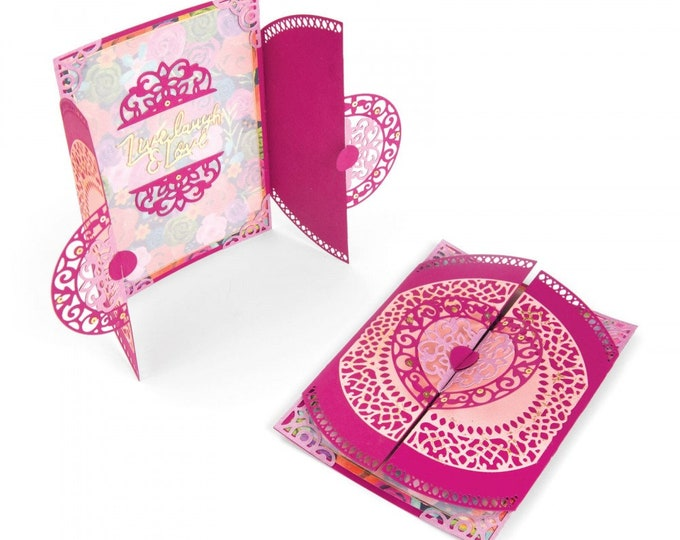 New! Sizzix Thinlits Die Set 7PK - Card, Moroccan Lace Flip and Fold by Katelyn Lizardi 662773