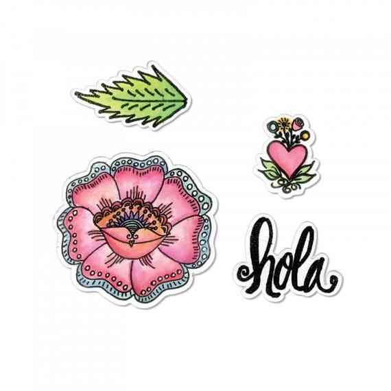Sizzix Framelits Die Set 4PK w/Stamps - Hola Flower by Crafty Chica 662318