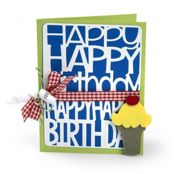 Sizzix Thinlits Die Set 2PK - Happy Birthday by Stephanie Barnard 662253