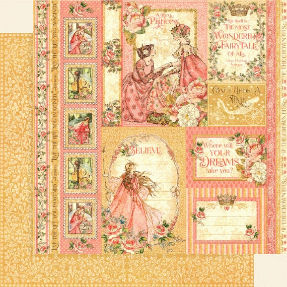 New! 2 Sheets of Graphic 45 PRINCESS Scrapbook Cardstock Paper - Beautiful Maiden (4501793)
