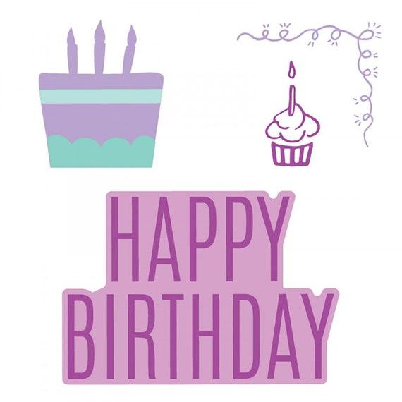 New! Sizzix Framelits Die Set 4PK w/Stamps - Happy Birthday #3 (662922)