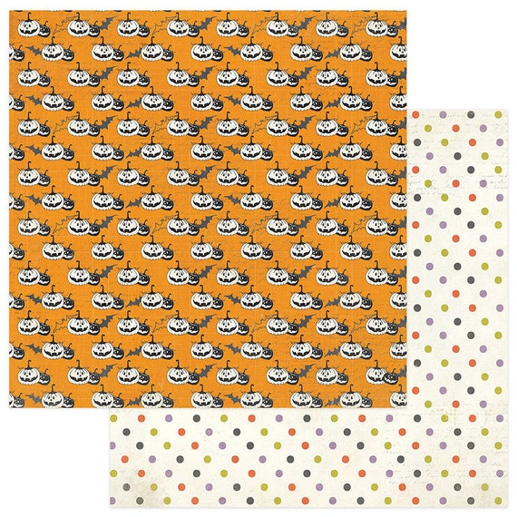 2 Sheets of Photo Play BOOTIFUL 12x12 Halloween Scrapbook Paper - Pumpkins