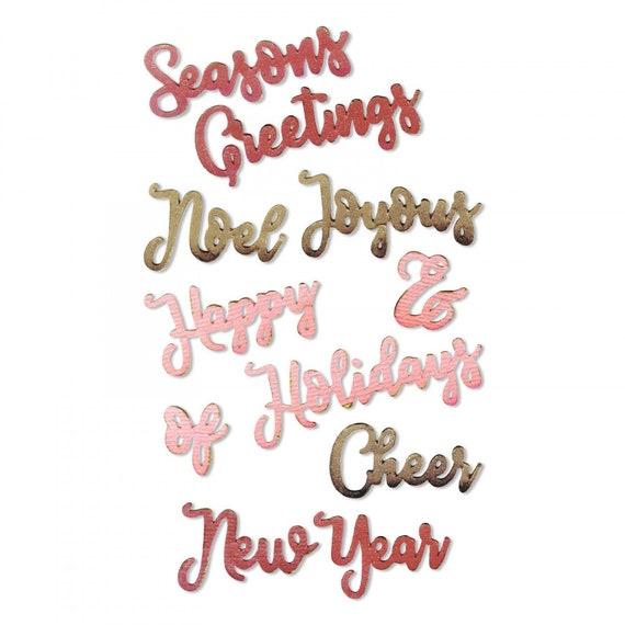 Sizzix Thinlits Die Set 11PK - Christmas Phrases #2 by Jen Long 663172