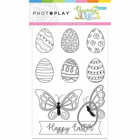 New! Photo Play BUNNY TRAIL Color-Me-Card + Easter Egg-shaped Etched Die (BTL9237)