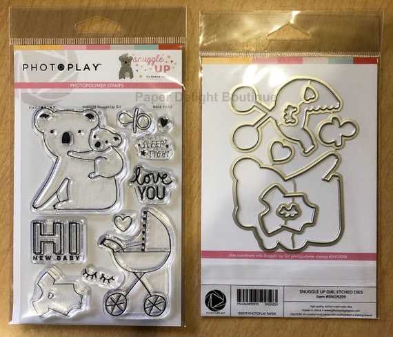 Photo Play SNUGGLE UP GIRL Baby Theme Clear Polymer Stamps and Etched Dies Set