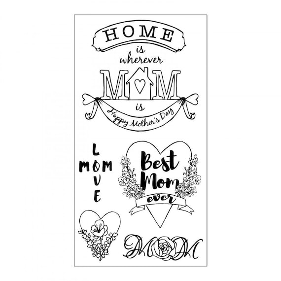 Sizzix Clear Stamps - Best Mom Ever - Mother's Day Theme Stamps by Jen Long 662001