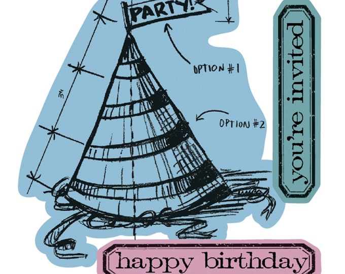 Sizzix Tim Holtz Framelits Die Set 4PK w/ Stamps - Celebrate Blueprint (Party Hat, Birthday)