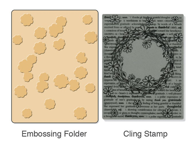 Sizzix Textured Impressions Embossing Folder w/ Hero Arts Stamp - Floral Wreath Set (657768)