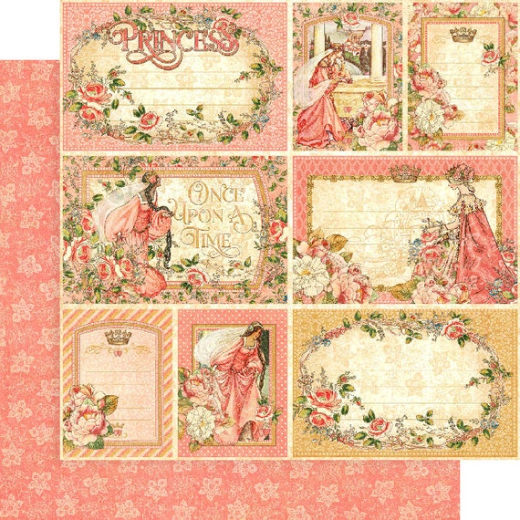 New! 2 Sheets of Graphic 45 PRINCESS Scrapbook Cardstock Paper - Your Highness (4501798)