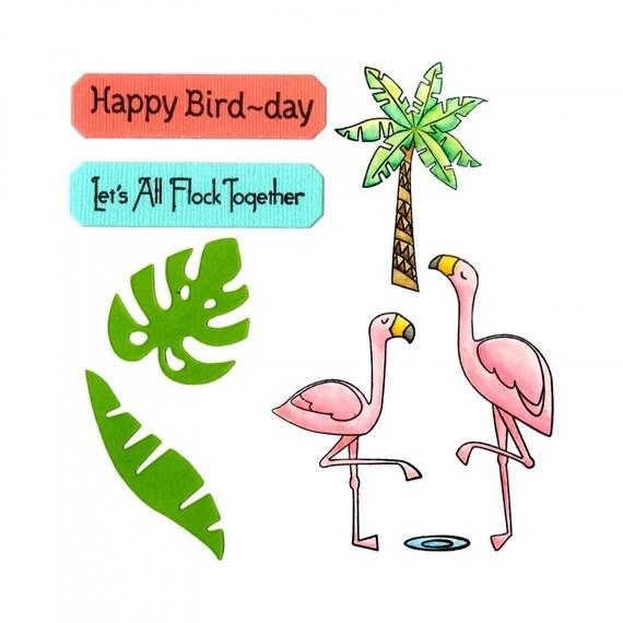 New! Sizzix Framelits Die Set 7PK w/Stamps - Birds of a Feather by Lynda Kanase 662780
