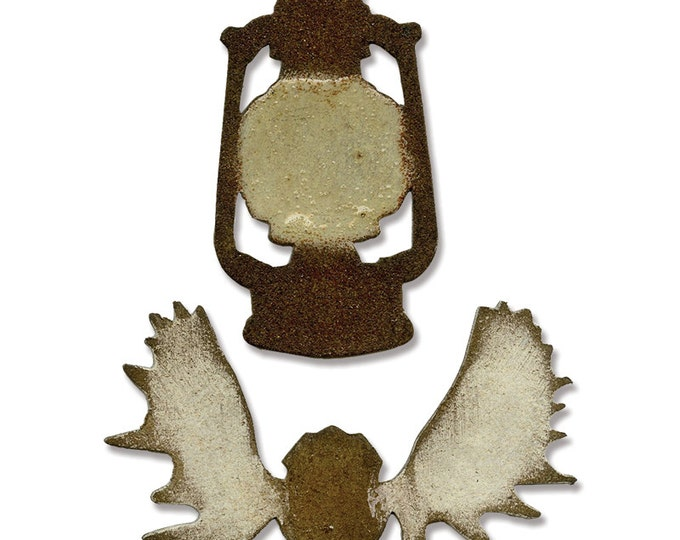 Tim Holtz Sizzix Movers and Shapers Magnetic Die Set - MINI LANTERN & ANTLERS 658774