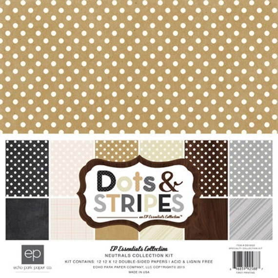 Echo Park Paper DOTS & STRIPES Neutrals 12x12 Scrapbook Paper Collection Kit (DS15023)
