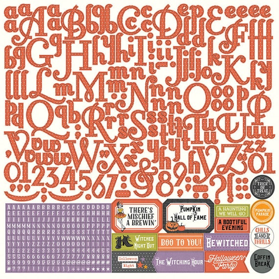 1 - 12x12 Sheet of Photo Play BOOTIFUL Halloween Theme Scrapbook Alpha/Alphabet Stickers