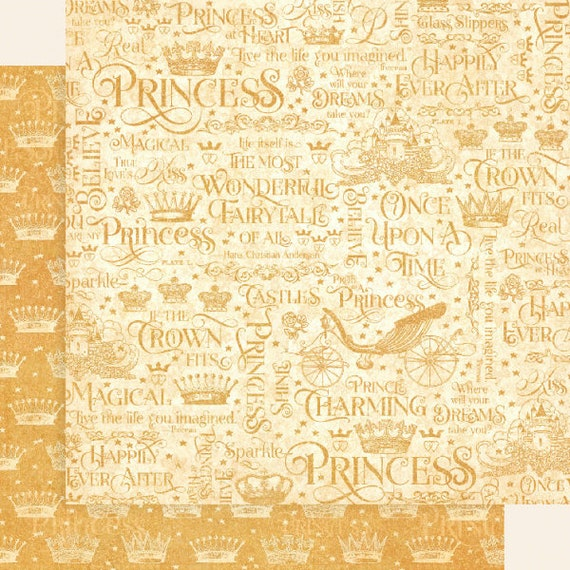 New! 2 Sheets of Graphic 45 PRINCESS Scrapbook Cardstock Paper - If the Crown Fits (4501795)