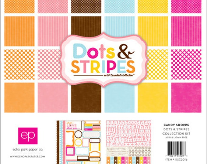Echo Park Paper DOTS & STRIPES Candy Shoppe 12x12 Scrapbook Paper Collection Kit