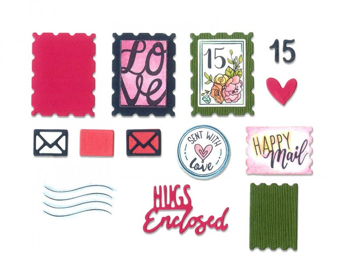 New! (will ship July 25th) Sizzix Framelits Die w/Stamps - Postage Stamps by Katelyn Lizardi 662790