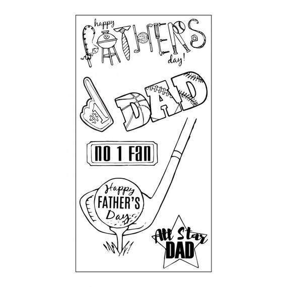 Sizzix Clear Stamps - All Star Dad - Father's Day Theme Stamps by Jen Long 662004