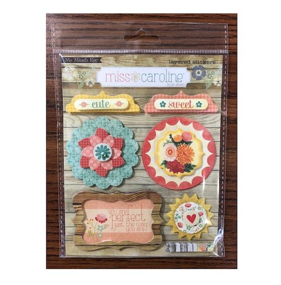 "My Mind's Eye MISS CAROLINE Howdy Doody ""Beautiful"" Layered Cardstock Stickers (MC0119)"