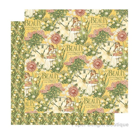 New! 2 Sheets of Graphic 45 GARDEN GODDESS Scrapbook Cardstock Paper - Love Grown Here (4501748)