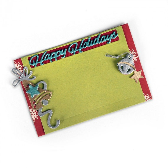 Sizzix Thinlits Die Set 5PK - Gift Card Holder, Happy Holidays by Lindsey Serata 661553