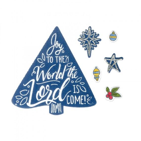 New! Sizzix Framelits Die Set 8PK w/Stamps - Christmas Tree, Joy to the World by Katelyn Lizardi 663162