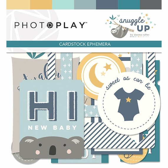 New! 1 Pack of Photo Play Paper SNUGGLE UP BOY Ephemera Die Cuts
