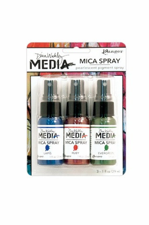Ranger Dina Wakley Media MICA SPRAYS Pearlescent Pigment Spray - Pack of 3 (Evergreen, Lapis, Ruby)