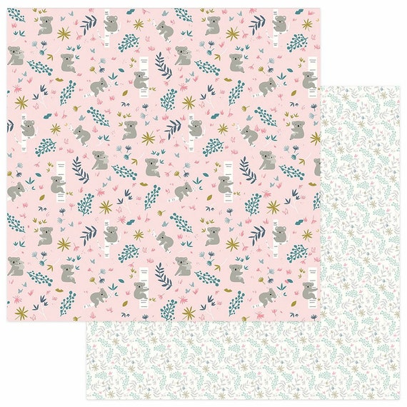 New! 2 Sheets of Photo Play SNUGGLE UP GIRL 12x12 Baby Theme Scrapbook Cardstock Paper - Hanging Around (Koala)
