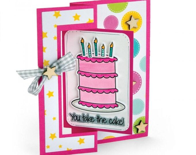 New! Sizzix Framelits Die Set 8PK w/Stamps - Take the Cake by Stephanie Barnard 662479